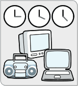Three clocks, positioned over a television, radio, and laptop computer.