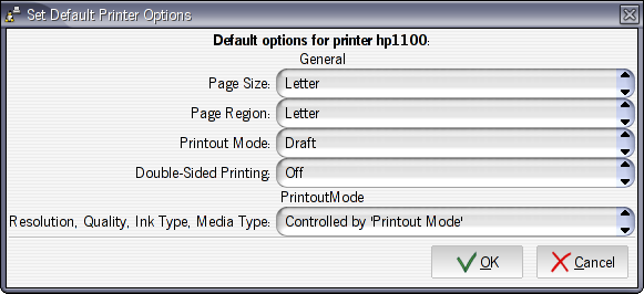 Printer options dialog in Foomatic-GUI 0.5.1