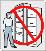 Image of a man next to a filing cabinet and a bookshelf, with a NO sign.