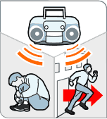 Image of a radio with a man deciding whether to duck and cover or run away.